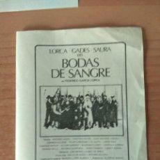 Cine: PROGRAMA DE CINE ..BODAS DE SANGRE. Lote 206480038
