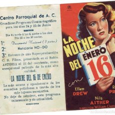 Cine: FOLLETO DE MANO, LA NOCHE DEL 16 ENERO, PROGRAMA DOBLE. Lote 206558320