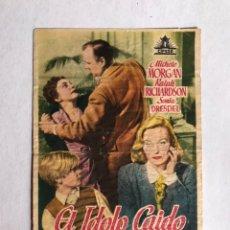Cine: ALFAFAR (VALENCIA) CINE ALFAFAR. FOLLETO DE MANO, EL ÍDOLO CAÍDO (A.1950). Lote 206585580