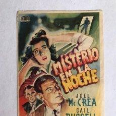 Cine: ALFAFAR (VALENCIA) CINE ALFAFAR. FOLLETO DE MANO, MISTERIO EN LA NOCHE (A.1947). Lote 206585686