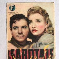 Cine: SEDAVI (VALENCIA) CINE POMPEYA FOLLETO DE MANO, ALFRED HITCHCOCK, SABOTAJE (H.1945?). Lote 206770368