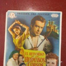 Cine: EL RETORNO DE LOS HERMANOS CORSOS. RICHARD GREENE.. Lote 206771200