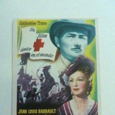 Folhetos de mão de filmes antigos de cinema: PROGRAMA. DE HOMBRE A HOMBRES. JEAN LOUIS BARRAULT. SELLO CINE. Lote 206861980