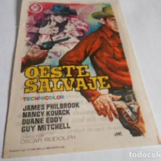 Cine: 19 - FOLLETO DE CINE - CON PUBLICIDAD CINE CAPITOL - OESTE SALVAJE. Lote 206921346