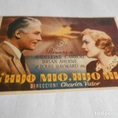 Cine: 19 - FOLLETO DE CINE - CON PUBLICIDAD CINE CAPITOL - HIJO MIO. Lote 206921913