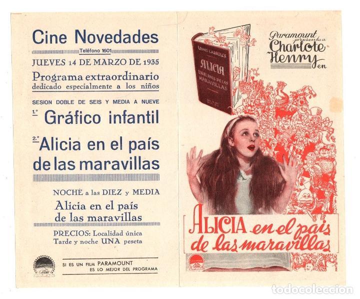 FOLLETO DE MANO ALICIA EN EL PAIS DE LAS MARAVILLAS. CINE NOVEDADES, PAMPLONA. AÑO 1935 (Cine - Folletos de Mano - Infantil)