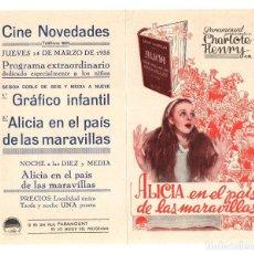 Cine: FOLLETO DE MANO ALICIA EN EL PAIS DE LAS MARAVILLAS. CINE NOVEDADES, PAMPLONA. AÑO 1935. Lote 206970087