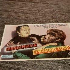 Cine: ANTIGUO PROGRAMA DE CINE FRANKENSTEIN Y EL HOMBRE LOBO. Lote 207017992