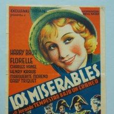 Cine: LOS MISERABLES - AÑO 1937 - PUBLICIDAD IDEAL CINEMA, BARCELONA - PROGRAMA DE CINE... L1216. Lote 207068820