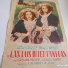 Cine: 24 - FOLLETO DE CINE - CON PUBLICIDA - CINE MONMARI - LAS DOS HUERFANITAS. Lote 207098221
