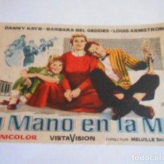 Cine: 24 - FOLLETO DE CINE - CON PUBLICIDA - CINE ELISEO - TU MANO EN LA MIA. Lote 207099050