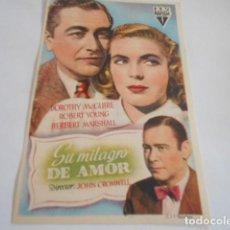 Cine: 25 - FOLLETO DE CINE - CON PUBLICIDA - CINE RIGAT - MILAGRO DE AMOR. Lote 207099965