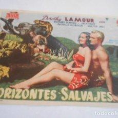 Cine: 25 - FOLLETO DE CINE - CON PUBLICIDA - CINE PLAZA DE TOROS - HORIZONTES SALVAJS. Lote 207100338