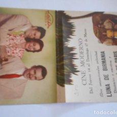 Cine: 25 - FOLLETO DE CINE - CON PUBLICIDA - CINE MODERNO - LUNA BIRMANIA. Lote 207100443