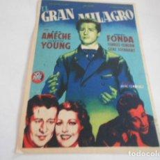Cine: 25 - FOLLETO DE CINE - CON PUBLICIDA - CINE PLAZA TOROS -EL GRAN MILAGRO. Lote 207100557