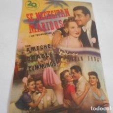 Cine: 25 - FOLLETO DE CINE - CON PUBLICIDA - CINE ESPAÑOL SE NECESITAN MARIDOS. Lote 207100602