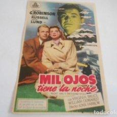Cine: 25 - FOLLETO DE CINE - CON PUBLICIDA - CINE PRINCIPAL - MIL OJOS TIENE LA NOCHE. Lote 207100985