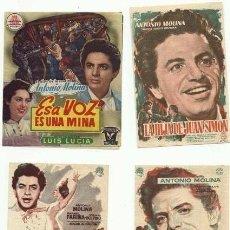 Cine: ANTONIO MOLINA LOTE DE CUATRO FOLLETOS SIN PUBLICIDAD. Lote 207150110