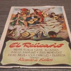 Cine: ANTIGUO PROGRAMA DE CINE EL RELICARIO. Lote 207175937