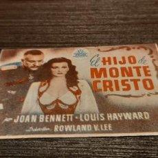 Cine: ANTIGUO PROGRAMA DE CINE EL HIJO DE MONTE CRISTO. Lote 207177890