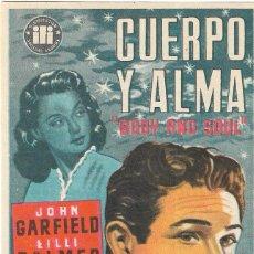 Cine: PN - PROGRAMA DE CINE - CUERPO Y ALMA - JOHN GARFIELD, LILLI PALMER - PLAZA DE TOROS (MÁLAGA) 1956. Lote 207255447