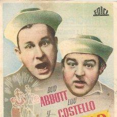 Cine: PN - PROGRAMA DE CINE - EN SOCIEDAD - BUD ABBOTT Y LOU COSTELLO - PRINCIPAL CINEMA (MÁLAGA) - 1949.. Lote 207285010