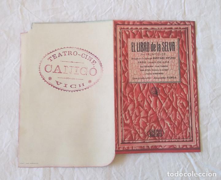 Cine: El libro de la Selva año 1945 Programa doble Troquelado Teatro Cine Canigó Vich - Foto 3 - 207298473