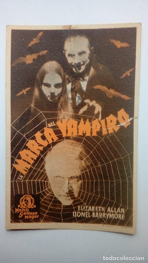FOLLETO DE CINE LA MARCA DEL VAMPIRO CON ELIZABETH ALLAN Y LIONEL BARRYMORE 1940 METRO GOLDWYN MAYER (Cine - Folletos de Mano - Terror)