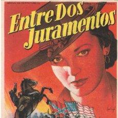 Flyers Publicitaires de films Anciens: PN - PROGRAMA DE CINE - ENTRE DOS JURAMENTOS - LINDA DARNELL, JEFF CHANDLER - PRINCIPAL CINEMA 1954. Lote 207368958