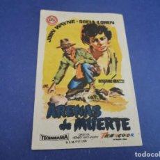 Cine: PROGRAMA DE MANO ORIG - ARENAS DE MUERTE - CINE DE JEREZ 1958. Lote 207538353