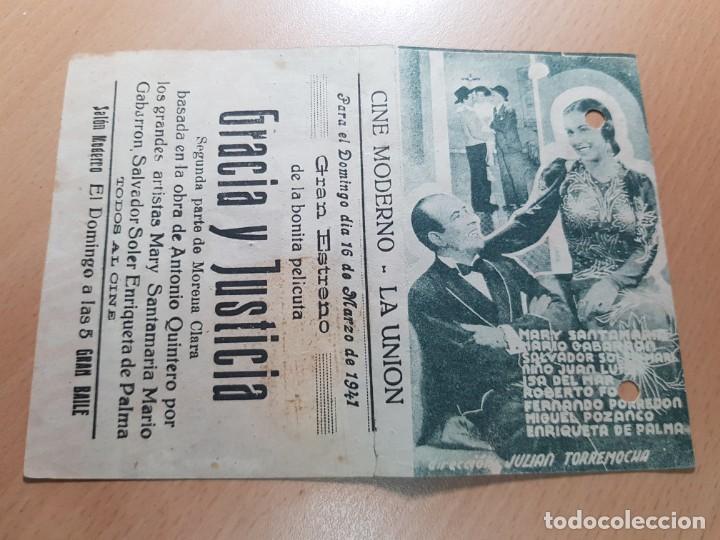 ANTIGUO PROGRAMA DE CINE GRACIA Y JUSTICIA MORENA CLARA LA UNION MURCIA 1941 (Cine - Folletos de Mano - Clásico Español)