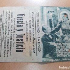 Cine: ANTIGUO PROGRAMA DE CINE GRACIA Y JUSTICIA MORENA CLARA LA UNION MURCIA 1941. Lote 207632831
