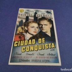 Cine: PROGRAMA DE MANO ORIG - CIUDAD DE CONQUISTA - CINE DE SANLUCAR. Lote 207643373