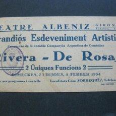 Cine: GIRONA-TEATRE ALBENIZ-RIVERA DE ROSAS-AÑO 1934-PROGRAMA DE CINE-VER FOTOS-(V-20.389). Lote 207648985