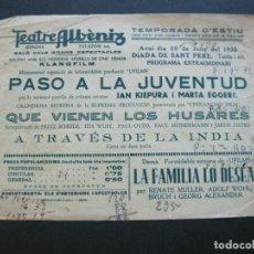 Cine: GIRONA-TEATRE ALBENIZ-PASO A LA JUVENTUD-LOS HUSARES-AÑO 1935-PROGRAMA DE CINE-VER FOTOS-(V-20.398). Lote 207650138