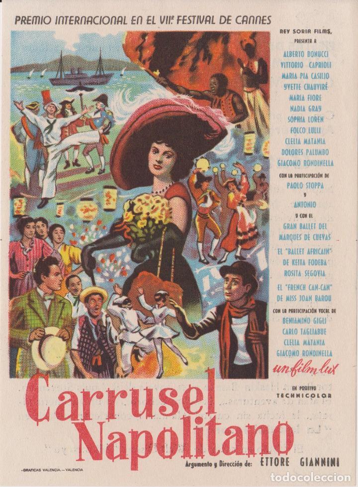 PROGRAMA DE CINE – CARRUSEL NAPOLITANO - SOFIA LOREN - CINE MUNDIAL, CENTRO NACIONAL - IGUALADA (Cine - Folletos de Mano - Musicales)