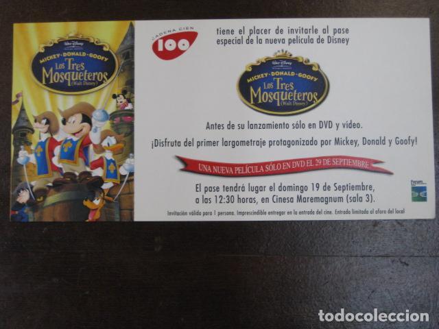 LOS TRES MOSQUETEROS - FOLLETO MANO ORIGINAL INVITACION PREESTRENO CINESA MAREMAGNUM DISNEY (Cine - Folletos de Mano - Infantil)