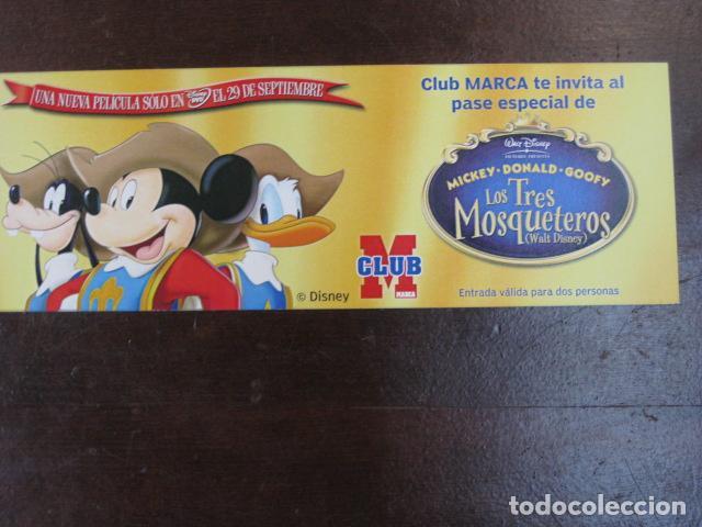 LOS TRES MOSQUETEROS - FOLLETO MANO ORIGINAL INVITACION PREESTRENO CLUB MARCA DISNEY (Cine - Folletos de Mano - Infantil)