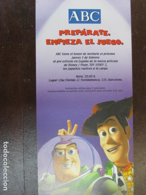 TOY STORY 2 - FOLLETO MANO ORIGINAL INVITACION PREESTRENO WALT DISNEY PIXAR (Cine - Folletos de Mano - Infantil)