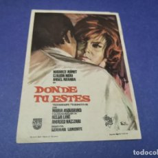 Folhetos de mão de filmes antigos de cinema: PROGRAMA DE MANO ORIG - DONDE TU ESTÉS - CINE DE CALPE. Lote 207771982