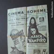 Cine: HOSTAFRANCHS-PROGRAMA CINEMA BOHEME-1936-MARCA DEL VAMPIRO-ACORAZADO MISTERIOSO-VER FOTOS-(V-20.507). Lote 207775196
