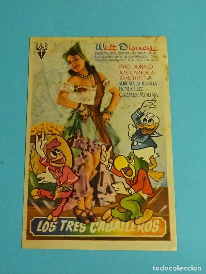 LOS TRES CABALLEROS. WALT DISNEY. SIN PUBLICIDAD. FOLLETO DE MANO ORIGINAL (Cine - Folletos de Mano - Infantil)