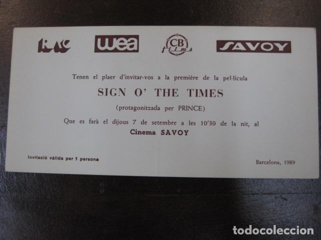 SIGN O'THE TIMES - FOLLETO MANO INVITACION PREESTRENO CINE SAVOY BARCELONA 1989 - PRINCE (Cine - Folletos de Mano - Documentales)