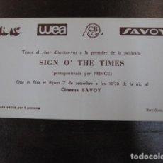 Cine: SIGN O'THE TIMES - FOLLETO MANO INVITACION PREESTRENO CINE SAVOY BARCELONA 1989 - PRINCE. Lote 207926925