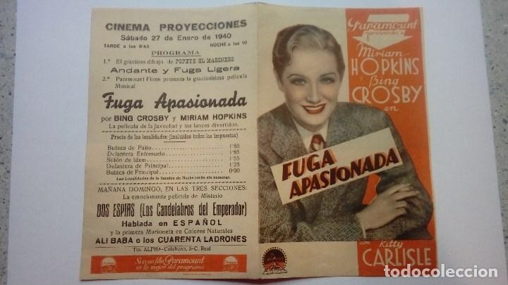 FOLLETO DE CINE FUGA APASIONADA CON MIRIAM HOPKINS PROGRAMA DOBLE CINEMA PROYECCIONES 1940 (Cine - Folletos de Mano - Comedia)