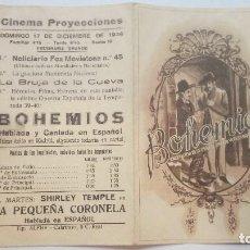 Folhetos de mão de filmes antigos de cinema: FOLLETO DE CINE BOHEMIOS CON EMILIA ALIAGA PROGRAMA DOBLE PUBLICIDAD CINEMA PROYECCIONES 1939. Lote 207934538