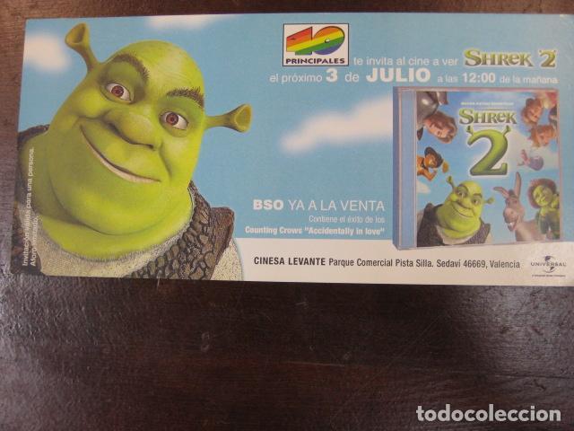 SHRECK 2 - FOLLETO MANO INVITACION PREESTRENO - DREAMWORKS ANIMATION - 40 PRINCIPALES RADIO (Cine - Folletos de Mano - Infantil)