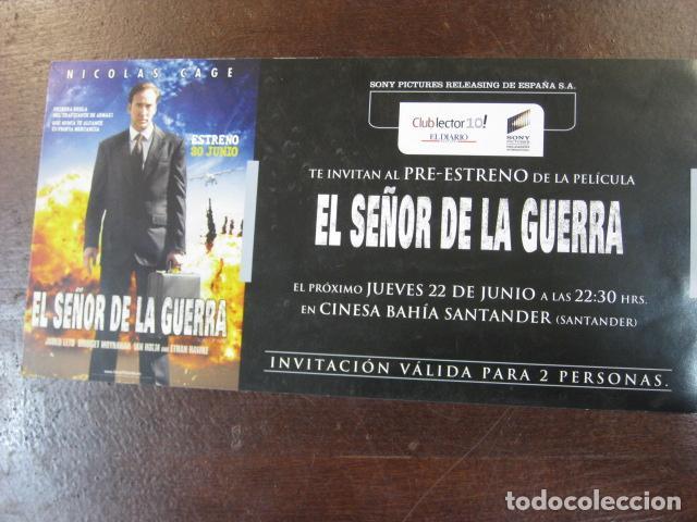 EL SEÑOR DE LA GUERRA - FOLLETO MANO INVITACION PREESTRENO - NICOLAS CAGE (Cine - Folletos de Mano - Infantil)