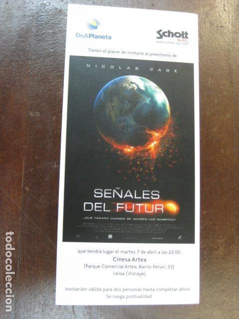 SEÑALES DEL FUTURO - FOLLETO MANO INVITACION PREESTRENO - NICOLAS CAGE PUBLICIDAD SCHOTT NYC (Cine - Folletos de Mano - Infantil)