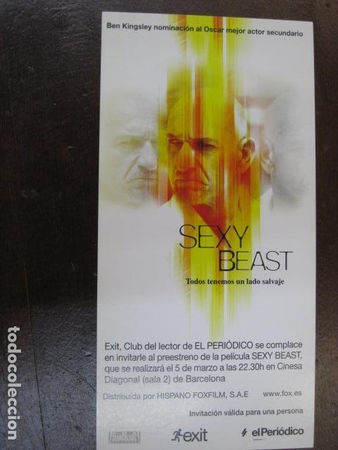 SEXY BEAST - FOLLETO MANO INVITACION PREESTRENO - BEN KINGSLEY PUBLICIDAD EL PERIODICO (Cine - Folletos de Mano - Infantil)